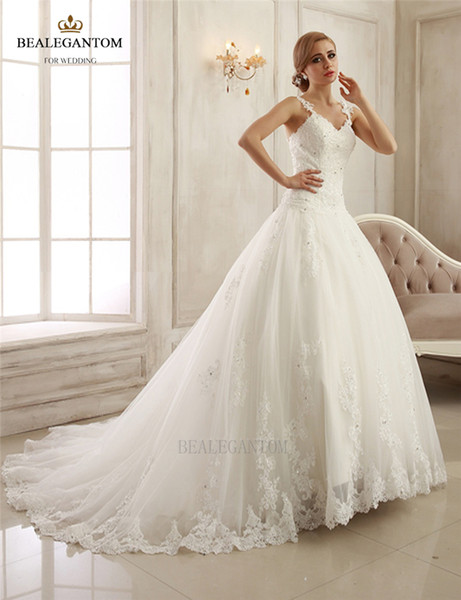 2017 New Real Photo Lace Ball Gown Wedding Dresses Organza Appliques Cheap Vintage Plus Size Bridal Gowns BM26