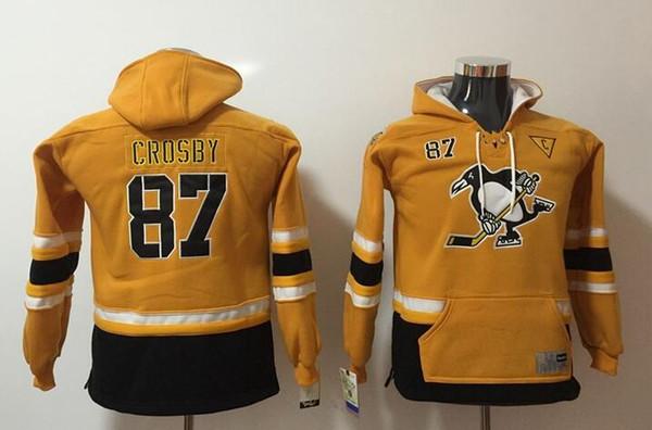 뉴 펭귄 청소년 후드 유니폼 # 87 Crosby Kids Hockey Hoody 옐로우 컬러 스티치 S / M L / XL 올드 타임 믹스 주문 모든 Jerseys