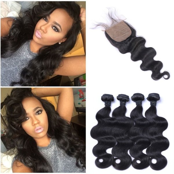 4X4 Silk Base Closure With Bundles Natural Black Indian Body Wave Human Hair Weaves With Closure 5pcs Lot LaurieJ Hair