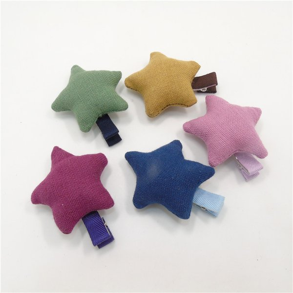 15pcs/lot Puffy Star Toddler Hair Clips Green Dark Blue Pink Hairpin Cute Baby Girl Barrettes Fashion Kid Party Favor Hair Pinch