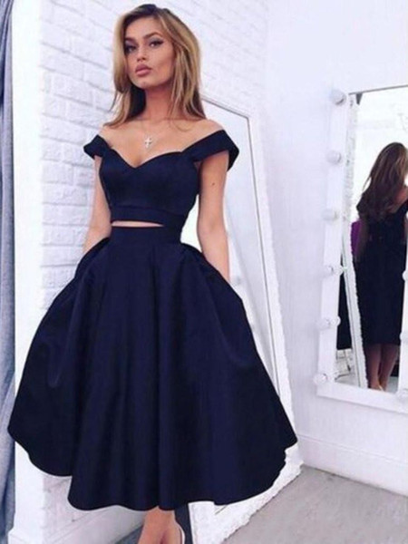 c0f42a23fd5 Sexy Two Pieces Homecoming Dresses 2017 V Neck Open Back A Line Holiday  Cocktail Special Occasion Dresses Custom Made Girls School Party