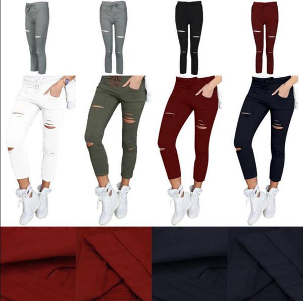 Mulheres Skinny Rasgado Buracos Jeans Cintura Alta Do Punk Calças Skinny Magro Apertado Rendas Até Góticas Leggings Calças 100 pcs OOA3459