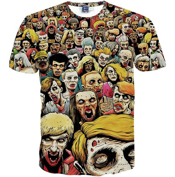 Zombie crowd T shirt Walking dead short sleeve gown Nice leisure tees Street printing clothing Unisex cotton Tshirt