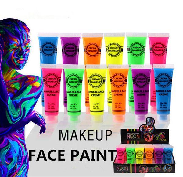 Néon UV Visage Lumineux Corps Peinture Fluorescente Festival Rave Peinture 13 ml Halloween professionnel peinture Beauté Maquillage Hallowmas Cadeau