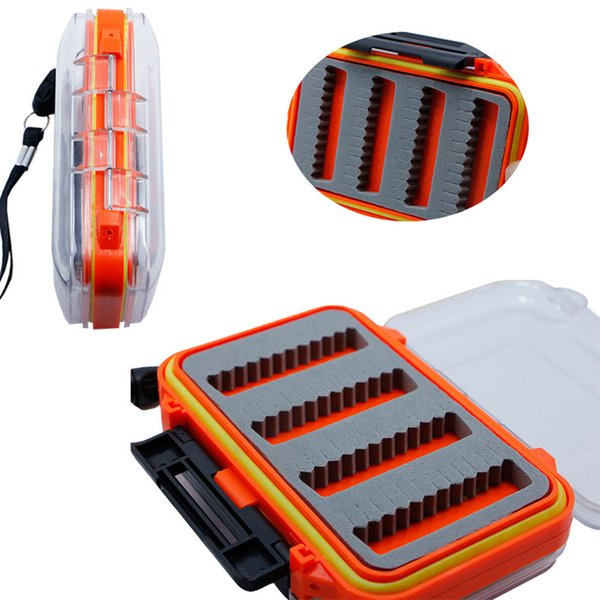 Wholesale- Double Side Waterproof Plastic Foam Fly Fishing Bait Lure Hook Storage Case Box