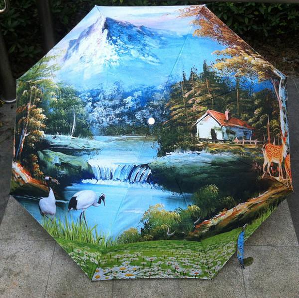 Satın Al Yağlıboya Sanat şemsiye Orman Boyama şemsiye Siyah Kaplama