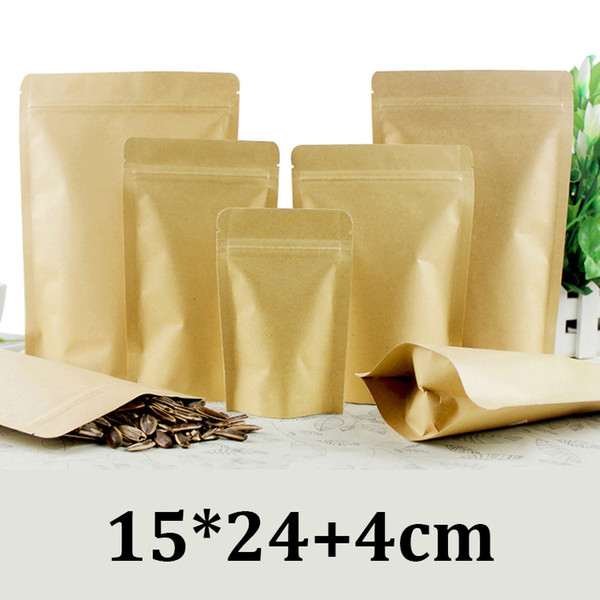 15x24cm biodegradable resealable ziplock stand kraft paper dried food packaging pouch bag