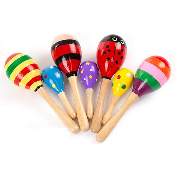 HOT DHL 100pcs Baby Wooden Toy Rattle Baby cute Rattle toys Orff musical instruments Educational Toys baby Sand ball sand hammer 12-20cm