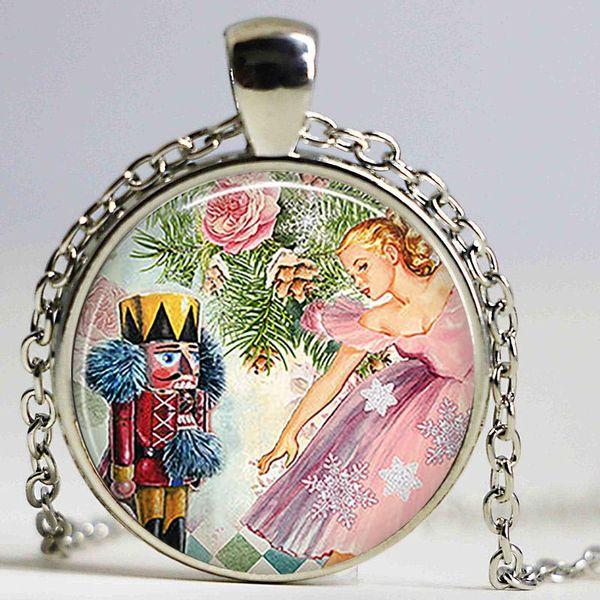The Nutcracker Ballet Necklace Art Picture Glass Cabochon Pendant Women Fashion Jewelry Christmas Friendship Gift Long Chain