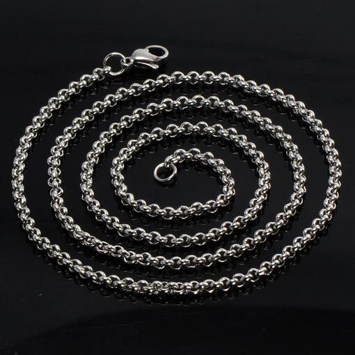 5pcs in bulk wholesale price silver tone Stainless Steel Thin round rolo LInk Chain Necklace women jewelry 2.5mm/3mm /4mm choose lenght