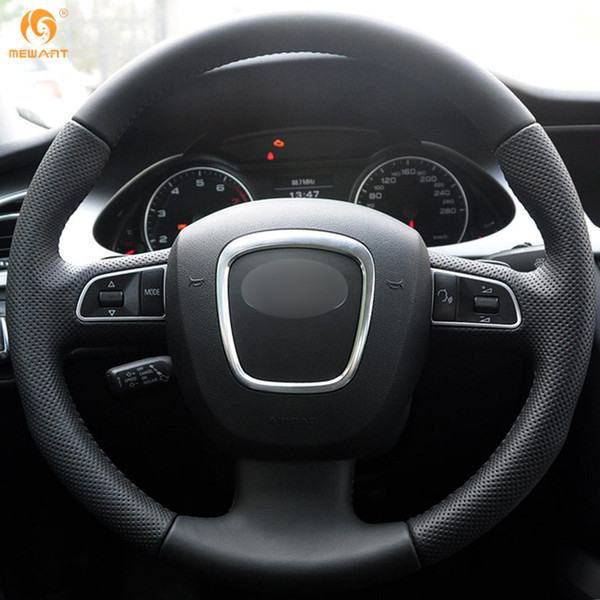 Mewant Black Artificial Leather Car Steering Wheel Cover for Audi A3 (8P) 2008-2013 A4 (B8) 2008-2010 A5 2008-2010 A6 (C6) 2007-2011