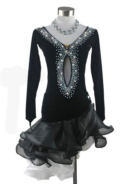 Robe latine adulte de haute qualité diamants noir costume de danse latine femmes robes de danse sur mesure