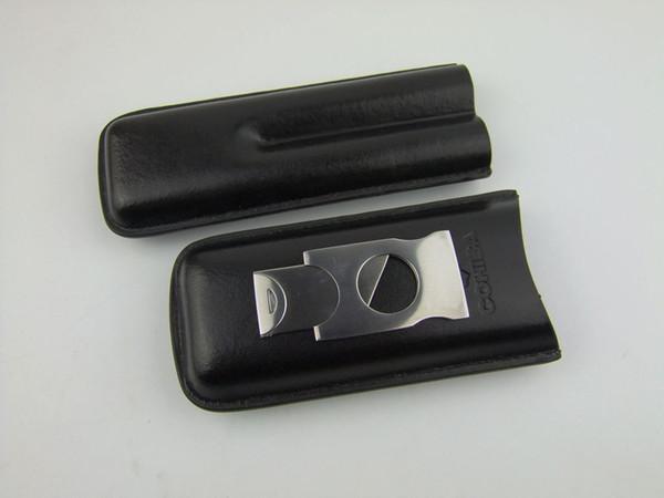 NEW Black Leather Zigarrenetui Doppel 2 Zigarren Tube Reisetasche Zigarre Humidor Etui Box Stainess Stahl Zigarre Cutter Scissor Messer