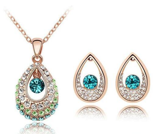 18K Gold Silver Plated Teardrop Austrian Crystal Necklace Earrings Jewelry Set Made With Swarovski Elements Women Wedding Jewelry Sets