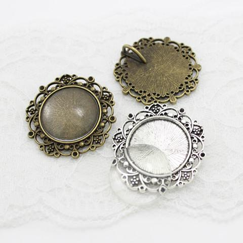 5 set two color round Cameo Filigree Cabochon Settings 39mm(Fit 25mm)Metal Photo Jewelry Making + Clear Glass Cabochons A4116-1