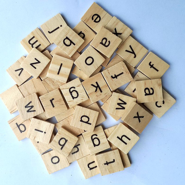 best selling 100 pcs Wooden Alphabet Scrabble Tiles Black Letters & Numbers For Crafts Wood Toys for Baby hot