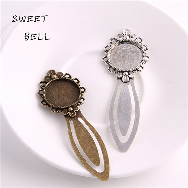 top popular Sweet Bell Min order 8pcs Two color Alloy Cameo Flower Steel Bookmarks 20mm-28*83mm Round Cabochon Settings Jewelry Blank Charm A4271-2 2019