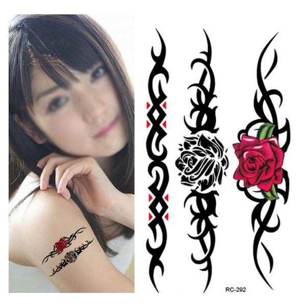 Moda Vücut Sanatı Sahte Dövme tatuajes Gül Çiçekler kadınlar için Su Geçirmez Geçici Dövme Çıkartma 50 adet / grup ücretsiz gemi