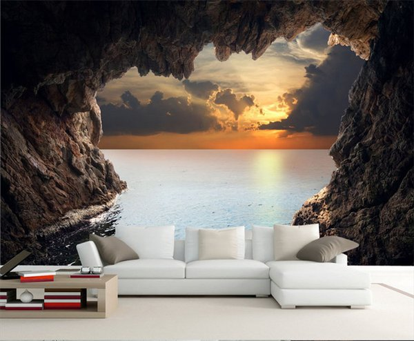 best selling Modern 3D stereoscopic photo wallpaper living room bedroom TV background wallpaper beautiful seascape cave wall mural wall paper
