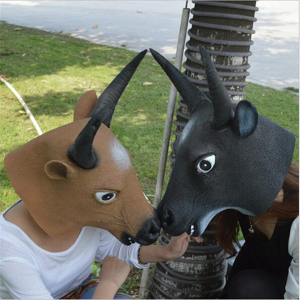Free Shipping Halloween Mask Cow Ox Devils Mask Horn King Latex Scary Full Head Mask Halloween Masquerade Mascara Terror Cosplay Party Props