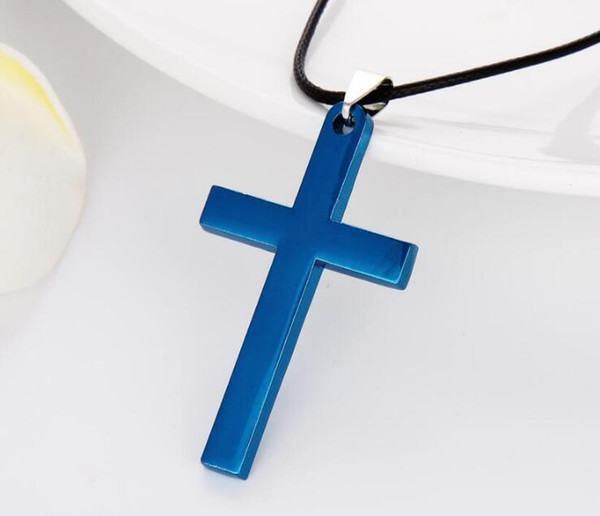 Hot sale Christian Titanium steel single large smooth cross necklace pendant with chain WFN584 (with chain) mix order 20 pieces a lot