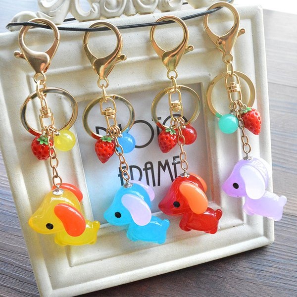 Good A++ New cute little dog pendant bag ornaments key holder jelly doll jewelry KR313 Keychains mix order 20 pieces a lot