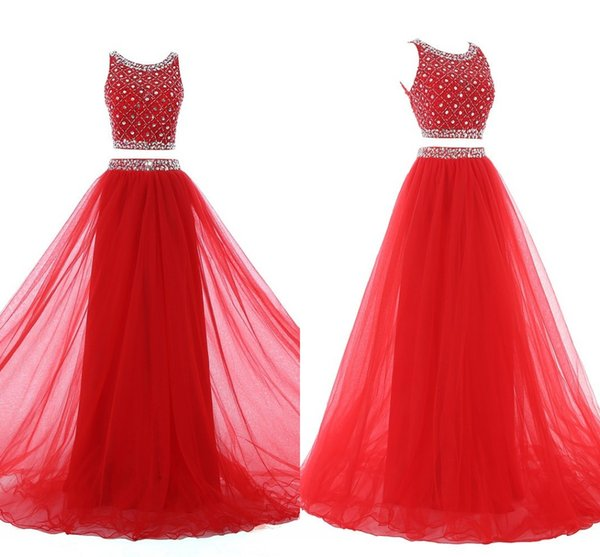 Red Prom Dresses Two Pieces 2018 Scoop Beading Crystal Sequins