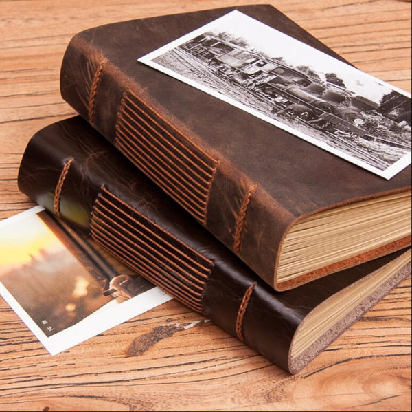Free shipping LY-NB05 19x14cm handmade vintage genuine leather notebook DIY notepads travelling journal scratch book