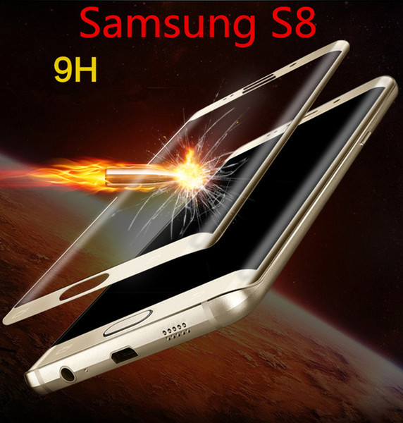 For Samsung Galaxy S8 S8 Plus 3D 3D Curved Full Cover Tempered glass Screen Protector Film 7 color with wooden box