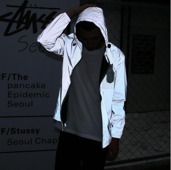 3m Qualität Kleidung Herren Reflektierende Jacke Wasserdicht Outdoor Windbreaker Casual Männer Hop Heiße Winter Baseball Mantel Großhandel Jacken Hip MGSzUVpq