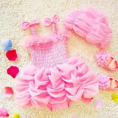 Kids Girls Bikini Swimwear Baby Girls Lace Swimsuit Toddler One-Piece + Hat 2pcs Set 2017 Princess Ruffle Bathing Tankini Beach Clothes B142