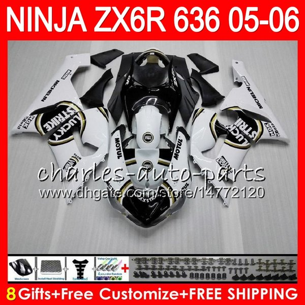 8Gifts 23Colors Bodywork For KAWASAKI NINJA ZX-636 ZX-6R 05-06 600CC 27HM6 ZX 636 Lucky Strike ZX 6R 2005 2006 ZX636 ZX6R 05 06 Fairing kit