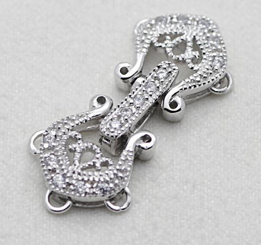 Strass incrustés en gros de haute qualité Plusieurs couches de perles collier naturel Bracelet Fermoir dédié Argent 925 YPJ68