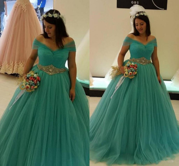 Plus Size Turquoise Wedding Dresses Ball Gown Off Shoulder Diamonds Belt Tulle Princess Bridal Gowns Custom Size