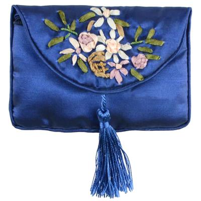 Handmade Ribbon Embroidery Small Coin Purse Jewelry Zip Bags Gift Packaging Satin Fabric Credit Card Holder Storage Pouch 2pcs/lot