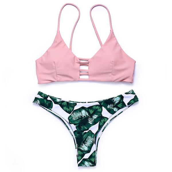 new arrival summer women bikini set sexy low waist Brazilian bottom bikini strappy pink top girl swimwear set