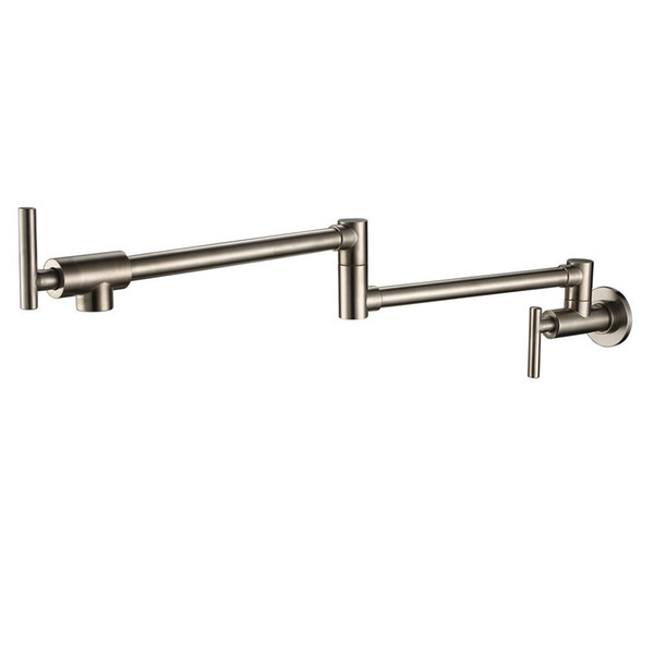 2019 Free Ship Wall Mounted Brass Single Cold Water Pot Filler Faucet Tap  Double Joint Spout Brushed Nickel Wall Mounted Kitchen Faucet From ...
