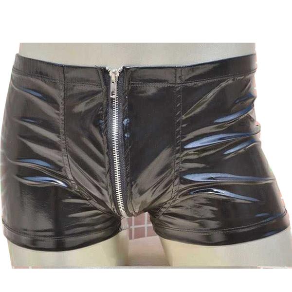 Homens Zipper Underwear Cueca Boxer Calcinha Sexy Cuecas Masculinos Calcinha Virilha Aberta Cintura Elástica Novidade Lingerie