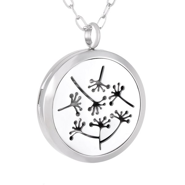 IJP0180 Dandelion Hope 316L Stainless Steel Essential Oils Aromatherapy Diffuser Necklace Perfume Locket Jewelry 50pcs/lot