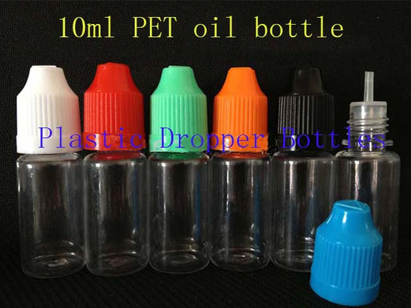 top popular 1000pcs PET 10ml plastic dropper bottles With Childproof Cap With Long Thin Tip For E Cig Vapor Vape Liquid Needle Dropper Bottles 2019