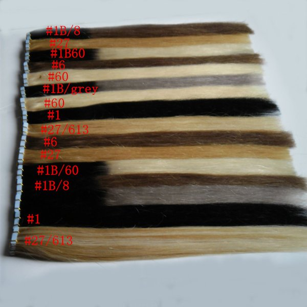 Tape in extensions human hair 100g 40Pcs/lot jet black brazilian straight hair Remy Skin Weft tape in human hair extensions