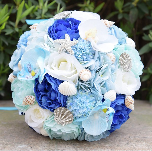 New Design Beautiful Ice Blue Beach Wedding Bridal Bouquet Glitter ...