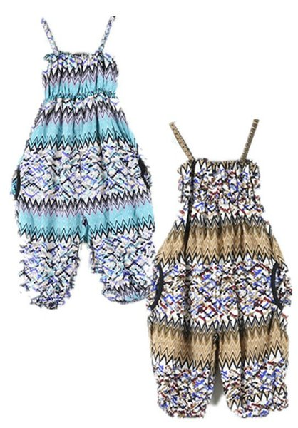 New Girls Suspenders jumpsuit Bohemia printing Baby rompers Five pants shorts cotton suspenders overalls pants