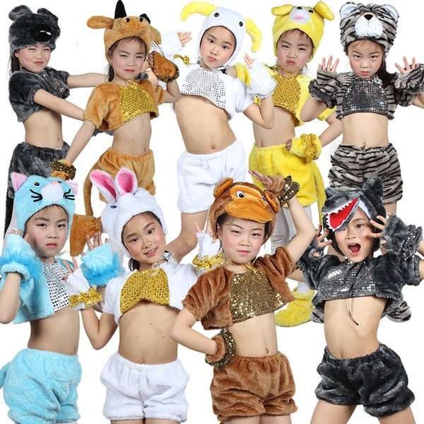 Unisex Kids Lovely Funny Flannel Velvet Party Cosplay Costume Fancy Animal Dress Up Tail Hat Outfit Suit 5-Piece
