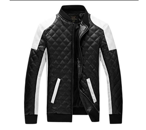 New Design Men's Jacket Winter&Autumn PU Leather Black&White Fashion Slim Plaid Jacket For Man Drop Shipping MWJ883
