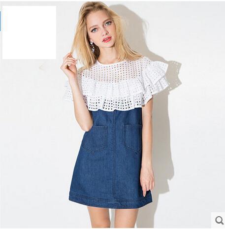 Primavera ed estate Denim Dress Falbala Patchwork Fresh Young Ladies Tessuto a rete Pockage A-line Mini abito manica corta