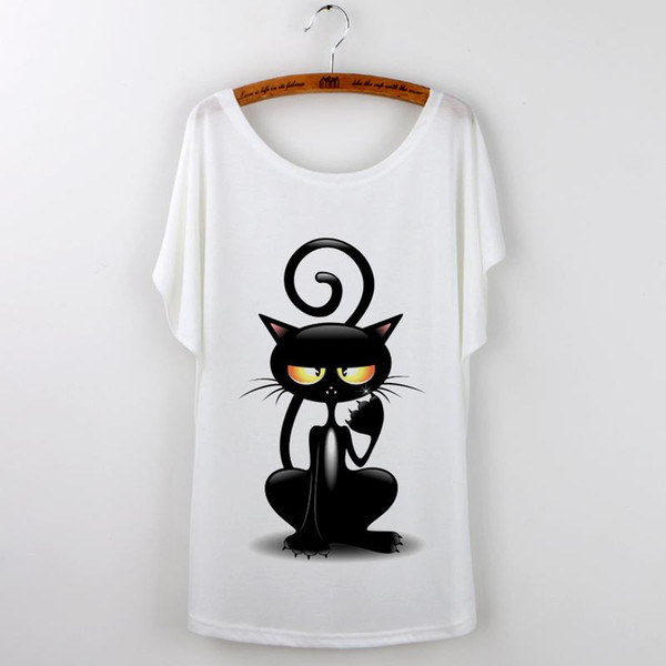 top popular Wholesale-2016 Tops Women T-shirt Harajuku Cat Print Funny T Shirt Women Short Sleeve kawaii Tee Shirt Femme Plus Size White Tumblr Tshirt 2021