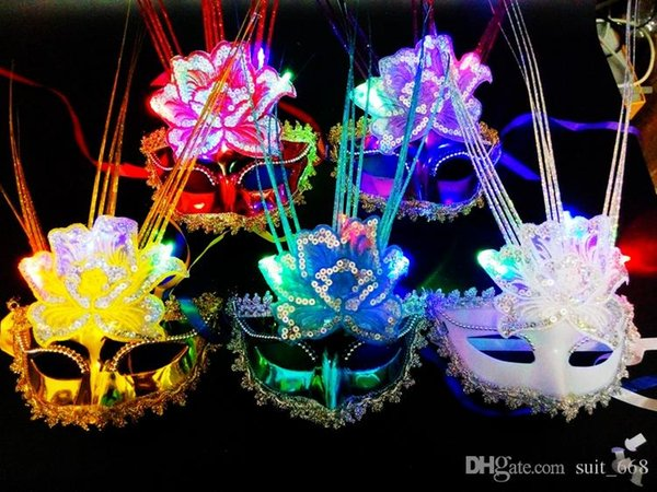 Makeup party Halloween dance with light emitting feather peacock butterfly mask rain