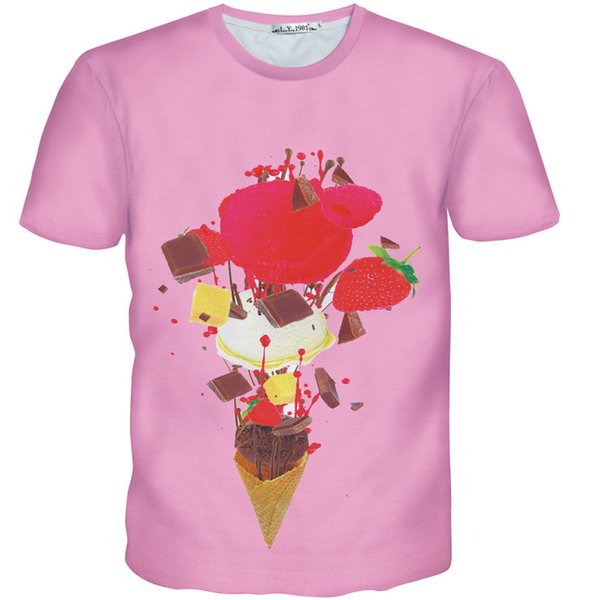 Cake cone T shirt Strawberry biscuit food short sleeve gown Cool leisure tees Nice printing clothing Unisex cotton Tshirt