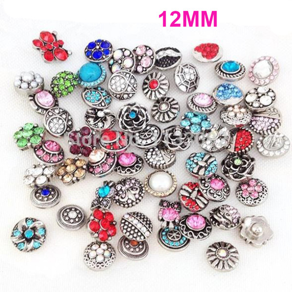 STARLISH Brand Mix 50pcs/set different styles snap jewelry ginger snap button charm fit 12MM snaps leather bracelet for women